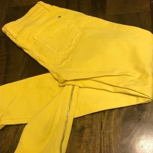James Jeans Canary Yellow Zipper Jeggings, Size 26
